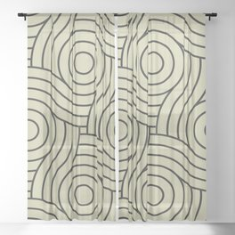 Circle Swirl Pattern Valspar America Natural Olive Green - Martinique Dawn - Asian Silk Sheer Curtain
