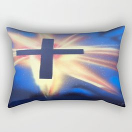 Glowing Space Cross Rectangular Pillow