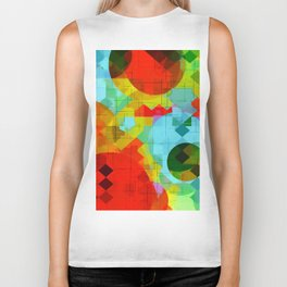 geometric square pixel and circle pattern abstract in red blue yellow Biker Tank