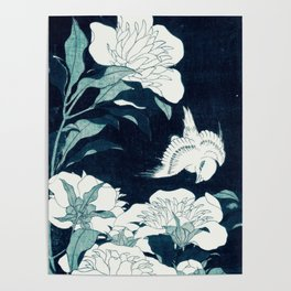 JAPANESE FLOWERS Midnight Blue Teal Poster
