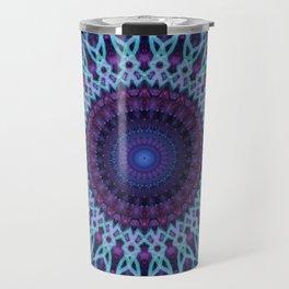 Mandala in dark and light blue tones Travel Mug