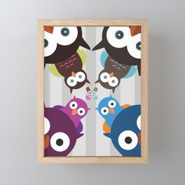 Owl Crowd Framed Mini Art Print