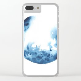 Watercolor Circle Abstract Simple | Blue Blob May 26 Clear iPhone Case