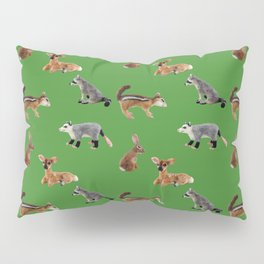 Backyard Critters in Green Pillow Sham