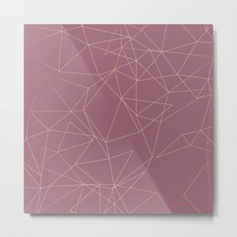 Rose Gold Geometrical Print on Dusty Rose Metal Print