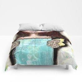 Mixed Media Fairy Girl 2 Comforters
