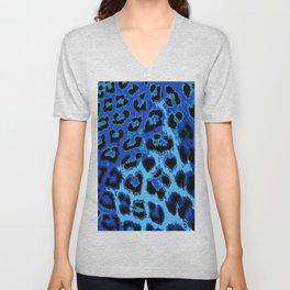 Blue Leopard Spots Unisex V-Neck