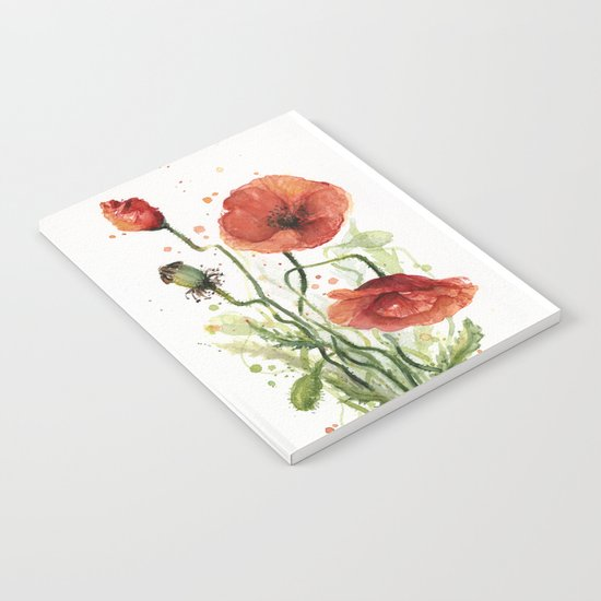 Red Poppies Watercolor Flower Floral Art Notebook