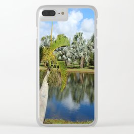 Palm Reflection - Tropical Garden Pond Clear iPhone Case
