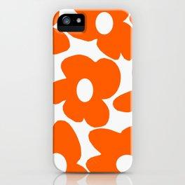 Orange Retro Flowers White Background #decor #society6 #buyart iPhone Case