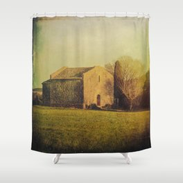 A cute small stone house without windows Shower Curtain