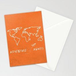 Adventure Map - Retro Orange Stationery Cards