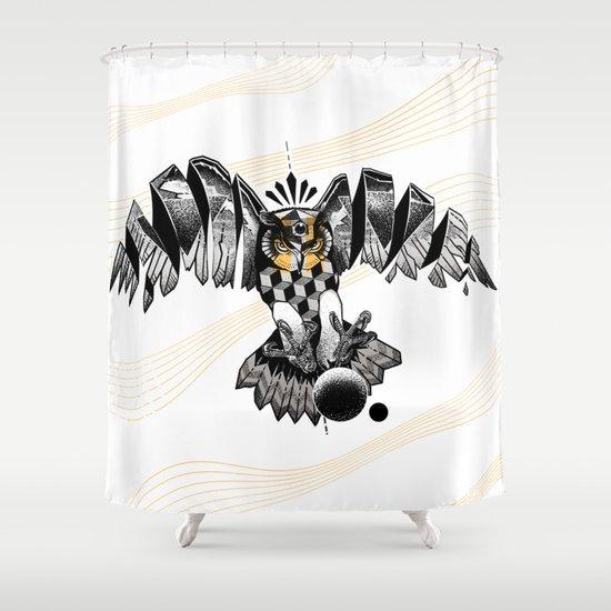 Dotwork Owl Shower Curtain