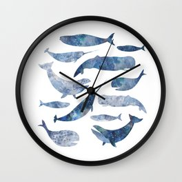 Whales, whale art, whale painting, whale wall art, watercolour whales, ocean Wall Clock