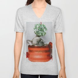 Christmas Pup in a Present with Mistletoe (Color) Unisex V-Neck