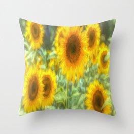 Watercolour Sunflowers Throw Pillow
