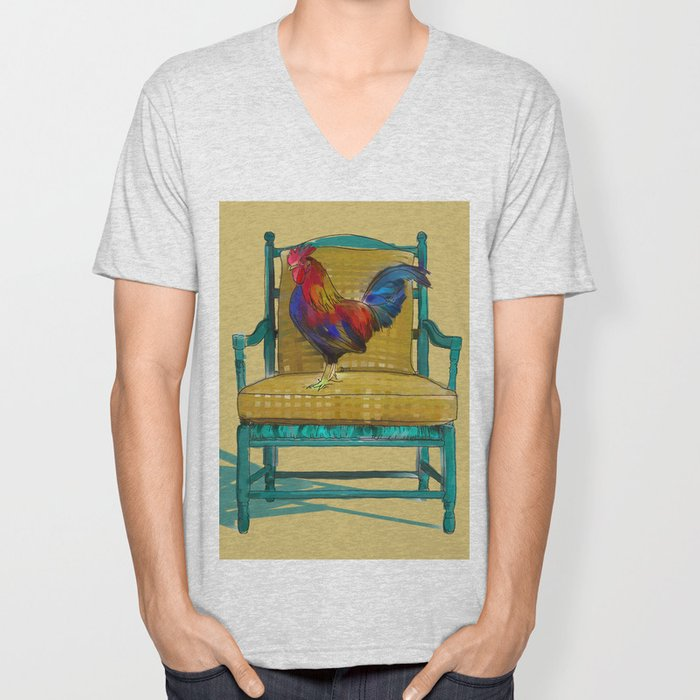 animals in chairs #18 The rooster Unisex V-Neck