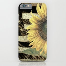 Rustic Sunflower Flower on Flag Country Art Cottage Chic A050 iPhone Case