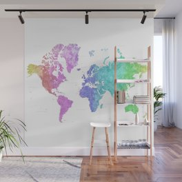 Gradient watercolor world map, highly detailed, square, Jude Wall Mural