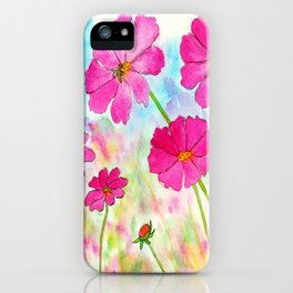 Symphony In Pink, Watercolor Wildflowers iPhone Case