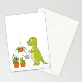 Cute dino watering his houseplants Stationery Cards