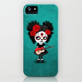 Day of the Dead Girl Playing Indonesian Flag Guitar iPhone Case