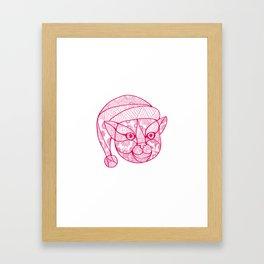 Cat Wearing Santa Hat Mandala Framed Art Print
