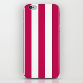 Pictorial carmine fuchsia - solid color - white vertical lines pattern iPhone Skin