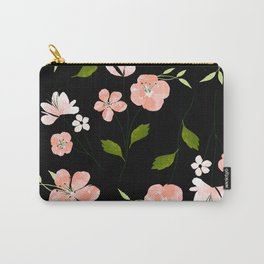 Pink Coral floral watercolor pattern - BLACK Carry-All Pouch
