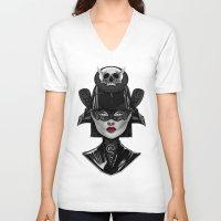 samurai V-neck T-shirts featuring Samurai by Giulio Rossi