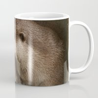otters Mugs featuring The curious otters by Pauline Fowler ( Polly470 )