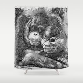 AnimalArtBW_OrangUtan_20170603_by_JAMColors-Special Shower Curtain