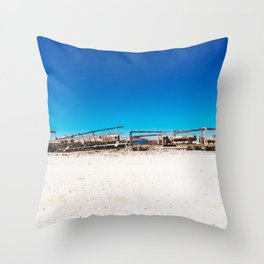 Train Cemetery in Uyuni, Bolivia Throw Pillow