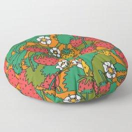 Orange Strawberries Floor Pillow