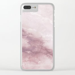 Pastel pink burgundy elegant abstract marble pattern Clear iPhone Case