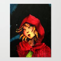 red riding hood Canvas Prints featuring Riding Hood by Mawhyah