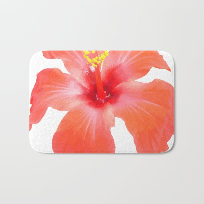 Red Hibiscus Vector Isolated Bath Mat