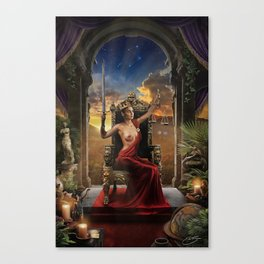 XI. Justice Tarot Card Illustration (Color) Canvas Print