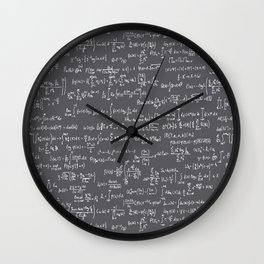 Math Equations // Charcoal Wall Clock