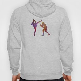 Woman boxwe boxing man kickboxing silhouette isolated 01 Hoody