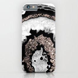 Gray Black White Agate with Rose Gold Glitter #1b #gem #decor #art #society6 iPhone Case