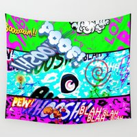 comic Wall Tapestries featuring Crazy Comic by MehrFarbeimLeben