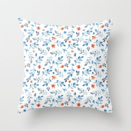 Hand painted watercolor orange pastel blue floral Throw Pillow