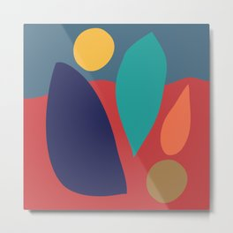 Contemporary Abstract Shapes in Saturated Earthy Hues Metal Print