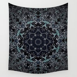 Dark Mandala Snow Flake Wall Tapestry