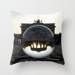 Brandenburg Gate, Berlin Germany / Glass Ball Photography Throw Pillow