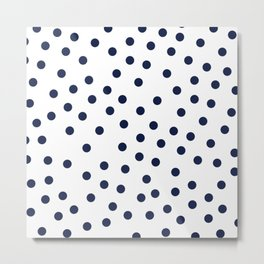 Simply Dots in Nautical Navy Metal Print