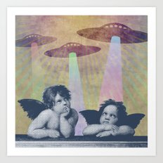 Meanwhile, up in Heaven... Art Print