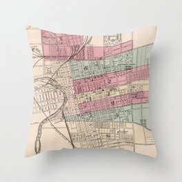 Vintage Map of Columbus Ohio (1868) Throw Pillow