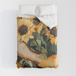 Holding Sunflowers, Woman Flowers Botanical Nature Painting, Boho Plant Lady Vintage Illustration Duvet Cover